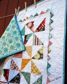 pinwheel and prairie point quilt