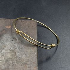 Golden Brass Adjustable Expandable Wire Bracelet, Minimalist Men's Bangle Bracelet, Thin Wire with Sliding Knots Delicate Bracelet