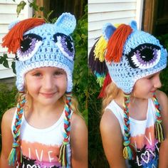 Girl pony hat rainbow horse hat girl horse beanie child Ragazza Beanie 1c420746a601