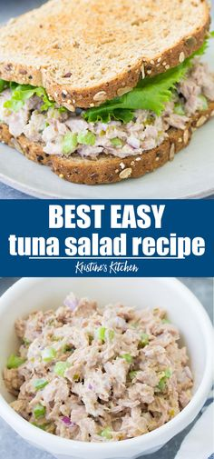 This easy tuna salad recipe makes the best tuna sandwiches! This classic tuna salad is the perfect recipe to make ahead for quick lunches. This is a healthy tuna recipe with no mayo, made with Greek y Healthy Tuna Recipes, Tuna Fish Recipes, Healthy Tuna Salad, Canned Tuna Recipes, Easy Egg Salad, Easy Salad Recipes, Beef Recipes, Healthy Lunches, Healthy Eating