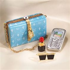 Limoges Blue Elegant Purse Box with Phone, Lipstick, and Sunglasses.