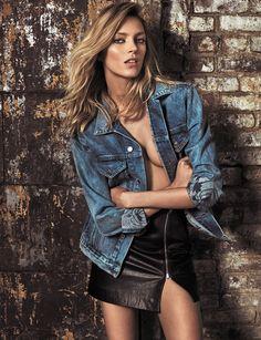 The blonde model wears denim jacket with leather skirt from Anja Rubik x Iro