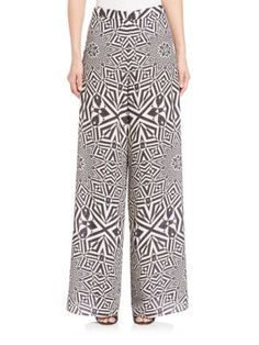 ALICE AND OLIVIA Elinor Printed Wide-Leg Pants. #aliceandolivia #cloth #pants