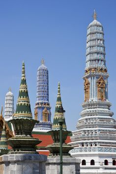 Thailand, Bangkok. Some of the beautiful Buddhist temples and shrines in the King of Thailand s Royal Grand Palace.