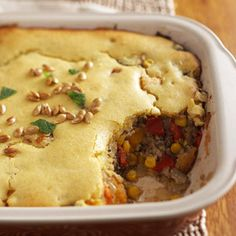 Moroccan Beef and Pumpkin Bake The sweet cornbreadlike topper is a delicious complement to this Moroccan spice-infused casserole. Plus, it takes only 30 minutes to prepare, which makes this meal perfect for your busy schedule.