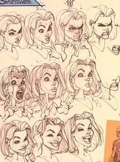 J scott campbell face study design reference, drawing reference, face reference, comic artist Art Poses, Drawing Poses, Drawing Sketches, Sketching, Character Drawing, Character Design, Cartoon Drawings, Art Drawings, Drawing Face Expressions
