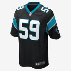 TEAM LOYALTY. EVERYDAY COMFORT. Rep your favorite team and player anytime in the NFL Carolina Panthers Game Jersey, inspired by what they're wearing on the field and designed for total comfort. Tailored Fit A tailored silhouette delivers a contoured, modern fit. Light, Soft Feel Silicone print numbers offer lightweight durability. Clean Comfort A tagless neck label provides streamlined comfort. Product Details Strategic ventilation for breathability Woven jock tag at front lower left TPU…