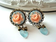 """Flower cameo heart  dangle plugs 12mm 1/2"""" gauges stretched ears pink blue"""