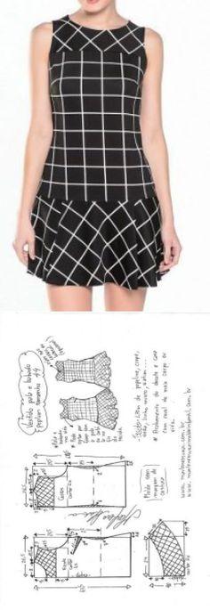 Vestido com pás e bandido Peplum | DIY - mofo, corte e costura - Marlene Mukai