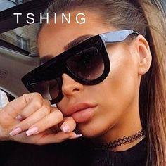 345e7fe288 TSHING Fashion Sunglasses Brand Designer Women Flat Top Vintage Sun Glasses  Women s Runway Fashion