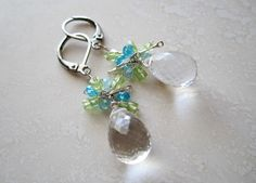 CRYSTAL QUARTZ, PERIDOT, ZIRCON, STERLING EARRINGS -- ONE-OF-A-KIND (F980) Components: Fine quartz crystal, lime peridot, blue natural zircon, sterling silver, and hypo-allergenic surgical steel leverback earwire (can be upgraded