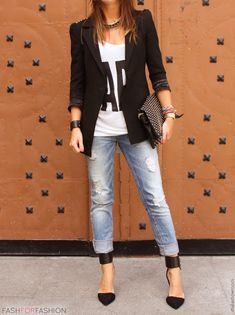 fashforfashion -♛ STYLE INSPIRATIONS♛ Like this outfit A LOT, shoes, casual denim & blazer.
