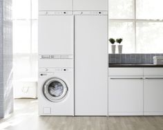 The ultimate laundry assistant - Asko Appliances. Asko drying cupboard, washing machine and dryer all stacked together neatly Drying Cupboard, Kitchen Pantry Cupboard, Kitchen Nook, Kitchen Island, Clever Bathroom Storage, Laundry Storage, Hidden Laundry Rooms, Laundry Powder, Washing Machine And Dryer