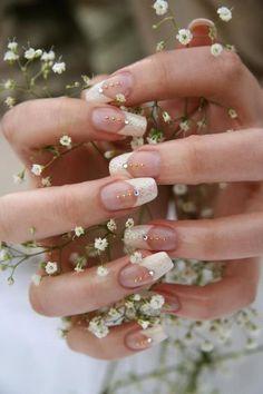 Wedding nails Wedding Nails For Bride, Bride Nails, Wedding Nails Design, Sparkle Wedding, Wedding Makeup, Nail Wedding, Wedding App, Dream Wedding, Wedding Champagne