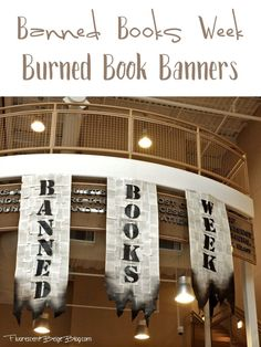 This week is Banned Books Week and I am excited to share with you the burned book banners that I created for the lobby of our library. Library Week, Teen Library, Library Bulletin Boards, Library Lessons, Library Ideas, Library Inspiration, Classroom Inspiration, School Library Displays, Middle School Libraries