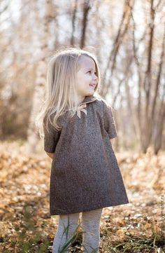 Купить Детское осеннее зимнее платье, нарядное, коричневое, золотой люрекс. - золотой, коричневый