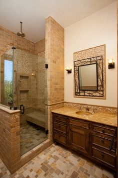 If you are having difficulty making a decision about a home decorating theme, tuscan style is a great home decorating idea. Many homeowners are attracted to the tuscan style because it combines sub… Tuscan Bathroom Decor, Bathroom Styling, Modern Bathroom, Master Bathrooms, Kitchen Decor, Kitchen Mats, Kitchen Design, Traditional Small Bathrooms, Italian Bathroom
