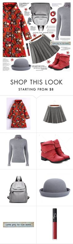 """""""Flower Print Hooded Padded Coat"""" by katjuncica ❤ liked on Polyvore featuring Natural Life, H&M and NARS Cosmetics"""