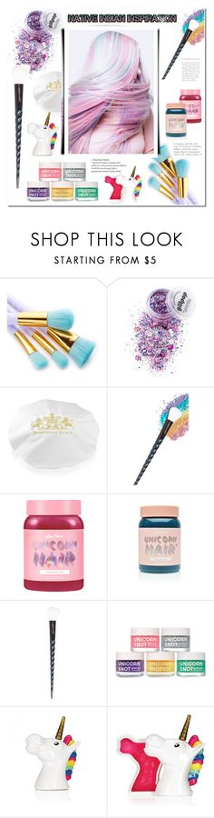 """#unicornhair"" by bellamonica ❤ liked on Polyvore featuring beauty, Royal Collection Trust, Lime Crime and unicornhair"