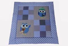 Babydecken -  Dicke Krabbeldecke Eulen jeansblau grau für Jungs - ein Designerstück von EuleLulu bei DaWanda