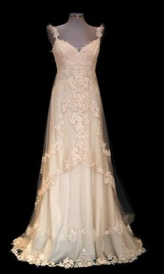 Pronovias Rustic Country Dress...Reminds me of a dress I saw in a window in New York!