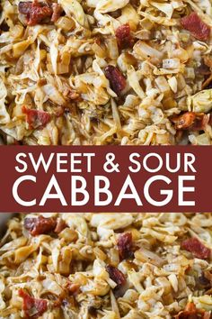 Sweet and Sour Cabbage - This easy side dish is the perfect blend of sweet and sour. It's comforting and goes great chicken, beef or pork. #cabbage