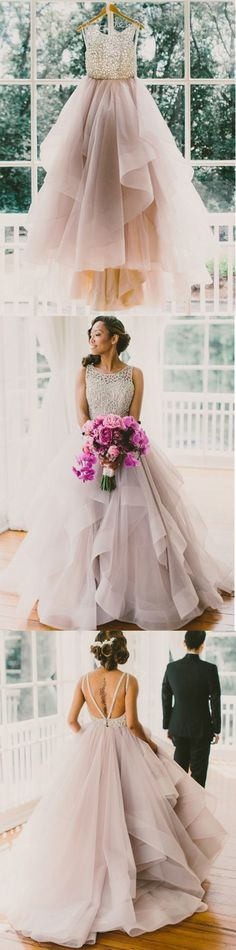 A Line Wedding Dress,Lace Appliques Wedding Dress,Organza Wedding Dress,Backless Prom Dress