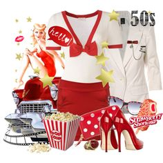 Designer Clothes, Shoes & Bags for Women 50s Diner, Rockabilly Fashion, Diners, Inspired Outfits, Strawberry Shortcake, Wolf, Shoe Bag, Polyvore, Bags