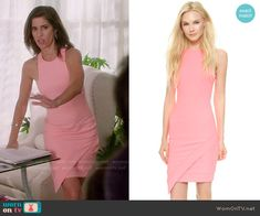 Marisol's pink asymmetric dress on Devious Maids.  Outfit Details: http://wornontv.net/50253/ #DeviousMaids