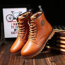 Nieuwe aankomst 2015 britse stijl enkellaars voor heren mode ronde neus kant- zacht leer mannen voorjaar en de winter warm lage schoenen m06(China (Mainland))
