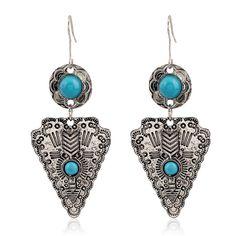 Fashion Bohemian Antique Silver Plated Metal Triangle Tassel Earrings Vintage Turquoise Long Dangle Earrings for Women