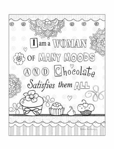 Page from artist, Barbara Ann Kenney's coloring book called: Chocolate and other Favorite Things Color Therapy Book now Available on Amazon.com