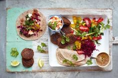 Try this Falafel Wraps - Grilled Vegetables & Salsa recipe by Chef Jamie Oliver. This recipe is from the show Jamie's 15 Minute Meals. Vegetable Recipes, Vegetarian Recipes, Cooking Recipes, Healthy Recipes, Easy Recipes, Chickpea Recipes, Healthy Food, Falafels, Jamie's 15 Minute Meals