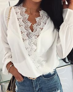Double V-Neck Lace Trim Casual Blouse - Beauty Outfit Fashion Group, Fashion Outfits, Womens Fashion, Fashion Trends, Fashion Fashion, Fashion Ideas, Fashion Jewelry, Fashion Sandals, Fashion Styles