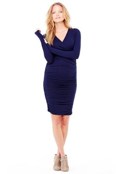 Ingrid & Isabel Empire Shirred Maternity Dress in True Navy by Ingrid & Isabel with free shipping