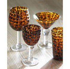 Tortoise Shell Wine Glasses | Four Tortoiseshell Red Wine Glasses