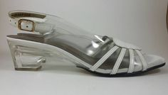 Retro clear acrylic slingback heels shoes size by JewellsBoutique