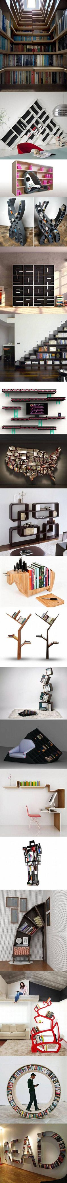 Here are some cool and geeky bookcase designs that think outside the box.