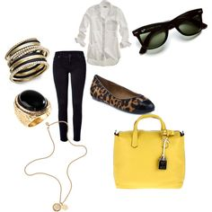 Makes me want Wayfarers....and that yellow bag.