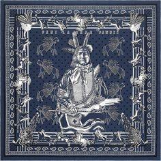 Pani La Shar Pawnee Bandana en twill de soie 100 % soie, roulotté à la main (55 x 55 cm)  Coloris : marine/blanc/noir  Réf. : H043060S 04