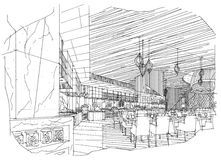 Sketch Interior Perspective Restaurant Black White Interior Design Stock Photos, Images, & Pictures - 18 Images