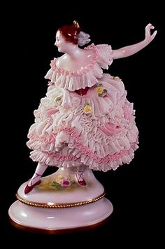 Click to view larger image ANTIQUE VOLKSTEDT PORCELAIN DRESDEN LACE BALLERINA FIGURINE
