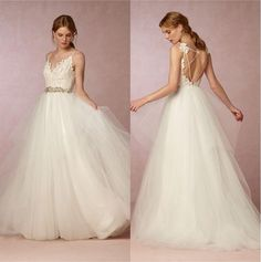 Simple Style 2016 Summer Beach Wedding Dresses Appliques Top Spaghetti Straps Backless Tulle A Line Bridal Gowns Custom Made Sweetheart A Line Wedding Dresses V Neck A Line Wedding Dress From Olesa_promandpageant, $92.97  Dhgate.Com