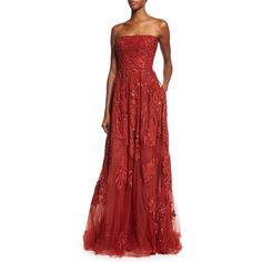 Elie Saab Embroidered Strapless Silk-Blend Gown ($10,225) ❤ liked on Polyvore featuring dresses, gowns, elie saab, cadillac, red evening gowns, short evening dresses, red flare dress, beaded dress and red strapless gown