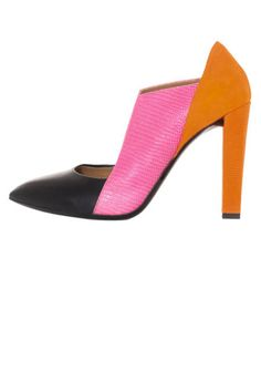 Statement Heels for Spring 2013 - Metallic, Bright, and Printed Pumps - ELLE  COLOR BLOCK Balenciaga Tri-Color Cut-Out Shoes