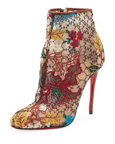 Miss Tennis Embroidered Lace Red Sole Bootie, Brown by Christian Louboutin at Neiman Marcus.