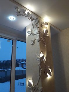 I like this combination of lights and wall sculpture. The cords for the lights would be buried in the sculpture material. Or battery powered lights could be set in pockets of the flowers. luci in cartongesso, home design and ideas relief magnolia lamp a P Plaster Art, Plaster Walls, Art Decor, Diy Home Decor, 3d Wall Decor, Home Interior Design, Interior Decorating, Deco Cafe, Vintage Design