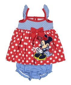 Love this Denim & Red Dot Minnie Mouse Dress & Bloomers - Infant by Children's Apparel Network on #zulily! #zulilyfinds