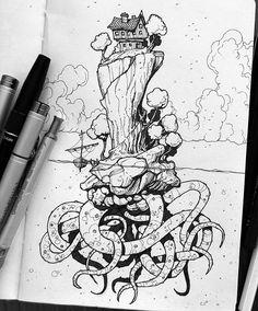 Holiday inspired sketchbook doodle number two. Ink Pen Drawings, Drawing Sketches, Surreal Artwork, Pen Art, Environmental Art, Art Sketchbook, Love Art, Doodles, Graffiti
