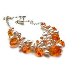 Orange Beaded Necklace Floral necklace  by CherylParrottJewelry,